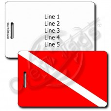 DIVE FLAG LUGGAGE TAG WITH WHITE BACK AND BLACK INK