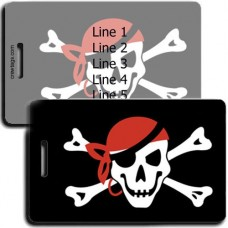 PERSONALIZED JOLLY ROGER WITH BANDANNA FLAG LUGGAGE TAGS