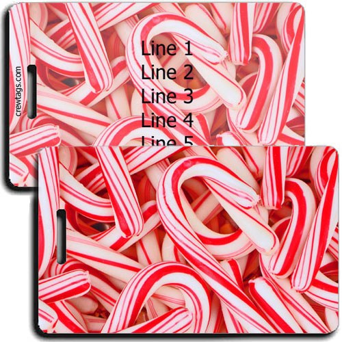 PERSONALIZED CANDY CANE LUGGAGE TAGS