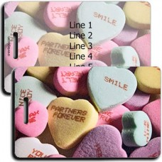 PERSONALIZED CANDY HEART LUGGAGE TAGS
