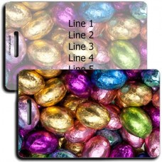 PERSONALIZED CHOCOLATE CANDY EGGS LUGGAGE TAGS