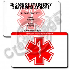 EMERGENCY PET CONTACT INFORMATION - HORIZONTAL WALLET CARD