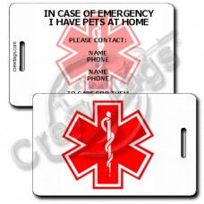 EMERGENCY PET CONTACT INFORMATION - LUGGAGE TAGS