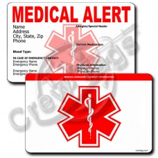 MEDICAL ALERT - HORIZONTAL WALLET CARD