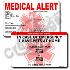 MEDICAL ALERT/PET - HORIZONTAL WALLET CARD