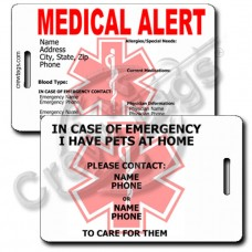 MEDICAL ALERT/PET - LUGGAGE TAGS