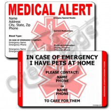 MEDICAL ALERT/PET - VERTICAL WALLET CARD