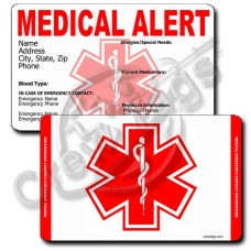 MEDICAL ALERT - VERTICAL WALLET CARD