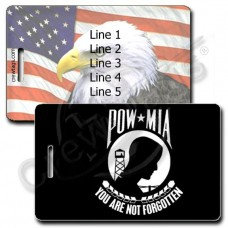 PERSONALIZED POW MIA LUGGAGE TAGS - AMERICAN FLAG AND EAGLE