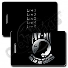 PERSONALIZED POW MIA LUGGAGE TAGS - SILVER INK