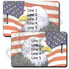AMERICAN FLAG AND EAGLE LUGGAGE TAGS (SAME INFORMATION BOTH SIDES)