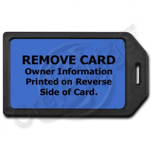 PRIVACY PROTECTION LUGGAGE TAG - BLACK WITH BLUE INSERT