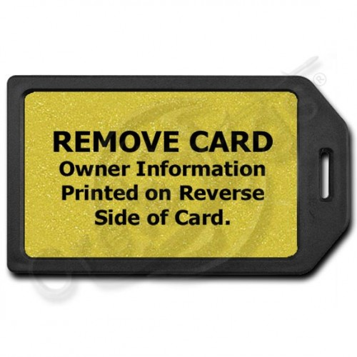PRIVACY PROTECTION LUGGAGE TAG - BLACK WITH GOLD INSERT