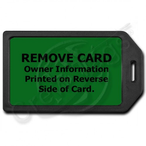 PRIVACY PROTECTION LUGGAGE TAG - BLACK WITH GREEN INSERT