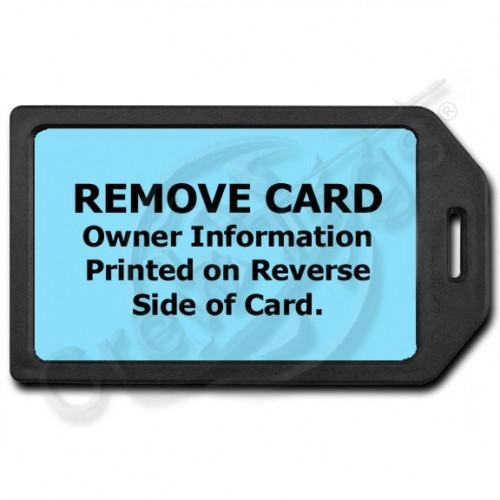 PRIVACY PROTECTION LUGGAGE TAG - BLACK WITH LIGHT BLUE INSERT