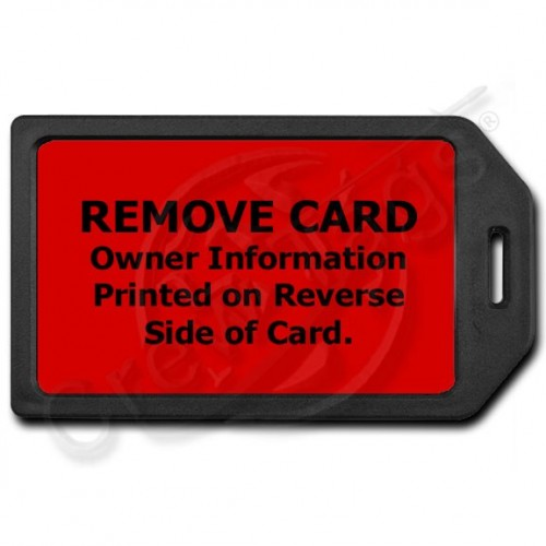 PRIVACY PROTECTION LUGGAGE TAG - BLACK WITH RED INSERT