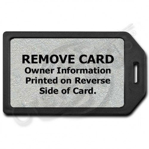 PRIVACY PROTECTION LUGGAGE TAG - BLACK WITH SILVER INSERT