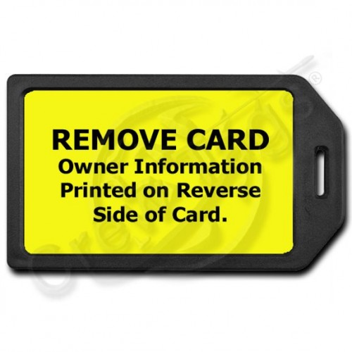 PRIVACY PROTECTION LUGGAGE TAG - BLACK WITH YELLOW INSERT