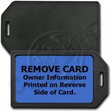 PRIVACY PROTECTION LUGGAGE TAG - BLACK CASE WITH BLUE INSERT