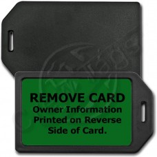 PRIVACY PROTECTION LUGGAGE TAG - BLACK CASE WITH GREEN INSERT
