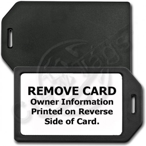 PRIVACY PROTECTION LUGGAGE TAG - BLACK WITH WHITE INSERT