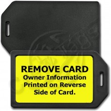 PRIVACY PROTECTION LUGGAGE TAG - BLACK CASE WITH YELLOW INSERT