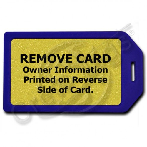 PRIVACY PROTECTION LUGGAGE TAG - BLUE WITH GOLD INSERT