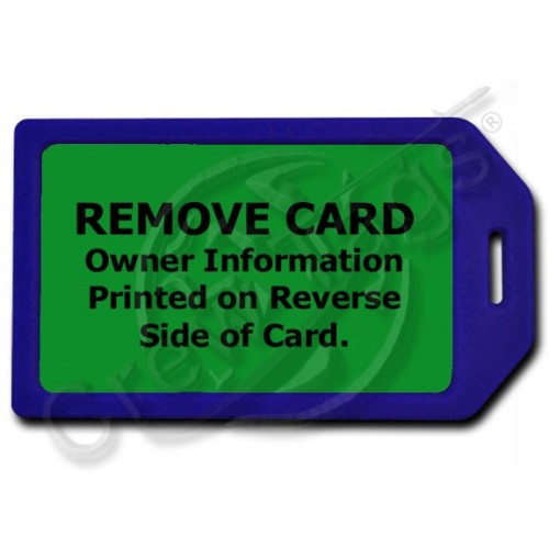 PRIVACY PROTECTION LUGGAGE TAG - BLUE WITH GREEN INSERT