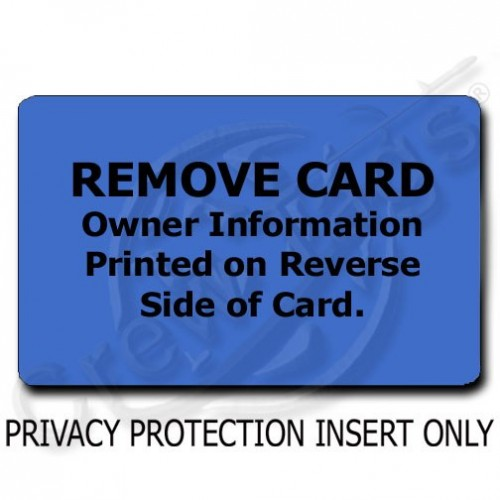 BLUE PRIVACY PROTECTION LUGGAGE TAG - INSERT ONLY