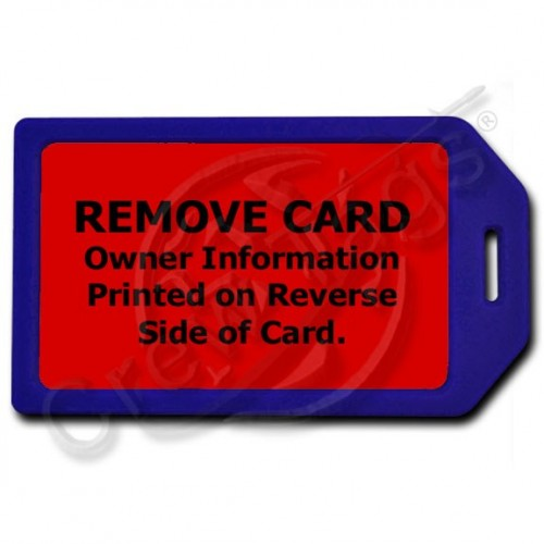 PRIVACY PROTECTION LUGGAGE TAG - BLUE CASE WITH RED INSERT