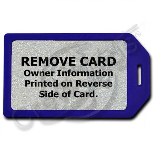 PRIVACY PROTECTION LUGGAGE TAG - BLUE WITH SILVER INSERT