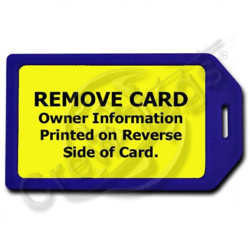 PRIVACY PROTECTION LUGGAGE TAG - BLUE WITH YELLOW INSERT