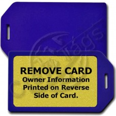 PRIVACY PROTECTION LUGGAGE TAG - BLUE CASE WITH GOLD INSERT