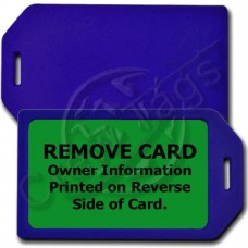PERSONALIZED PRIVACY PROTECTION LUGGAGE TAG - BLUE WITH GREEN INSERT