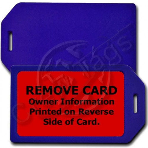 PERSONALIZED PRIVACY PROTECTION LUGGAGE TAG - BLUE WITH RED INSERT