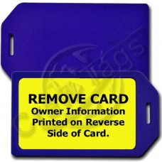 PRIVACY PROTECTION LUGGAGE TAG - BLUE CASE WITH YELLOW INSERT