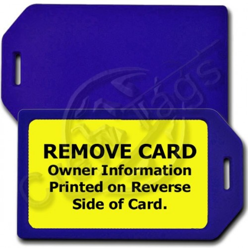 PERSONALIZEDPRIVACY PROTECTION LUGGAGE TAG - BLUE WITH YELLOW INSERT