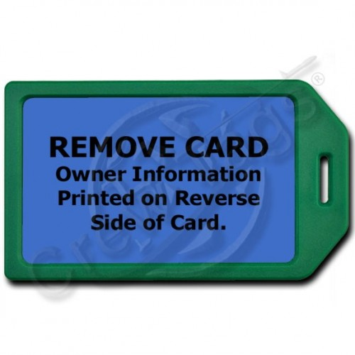 PRIVACY PROTECTION LUGGAGE TAG - GREEN WITH BLUE INSERT