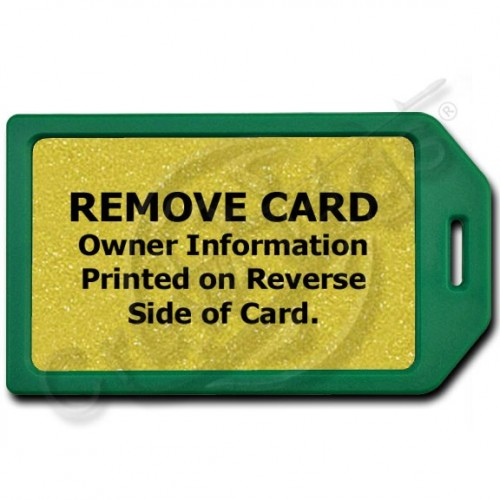 PRIVACY PROTECTION LUGGAGE TAG - GREEN WITH GOLD INSERT