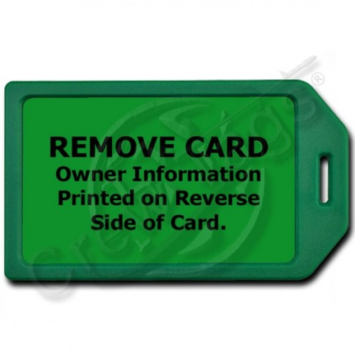 PRIVACY PROTECTION LUGGAGE TAG - GREEN WITH GREEN INSERT