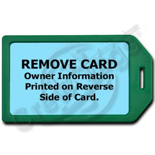 PRIVACY PROTECTION LUGGAGE TAG - GREEN WITH LIGHT BLUE INSERT