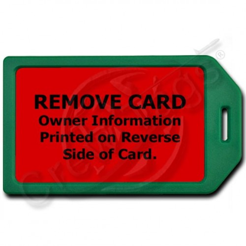 PRIVACY PROTECTION LUGGAGE TAG - GREEN WITH RED INSERT