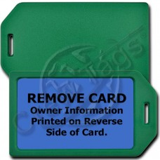 PRIVACY PROTECTION LUGGAGE TAG - GREEN CASE WITH BLUE INSERT