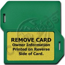 PRIVACY PROTECTION LUGGAGE TAG - GREEN CASE WITH GOLD INSERT