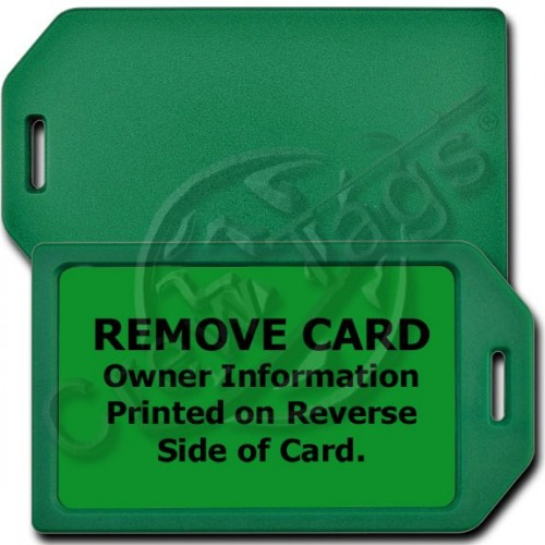 PERSONALIZED PRIVACY PROTECTION LUGGAGE TAG - GREEN WITH GREEN INSERT