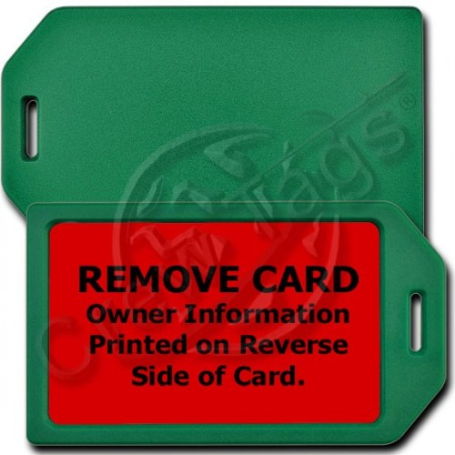PERSONALIZED PRIVACY PROTECTION LUGGAGE TAG - GREEN WITH RED INSERT