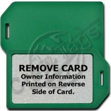 PRIVACY PROTECTION LUGGAGE TAG - GREEN CASE WITH SILVER INSERT