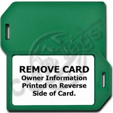 PRIVACY PROTECTION LUGGAGE TAG - GREEN CASE WITH WHITE INSERT