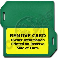 PRIVACY PROTECTION LUGGAGE TAG - GREEN CASE WITH YELLOW INSERT