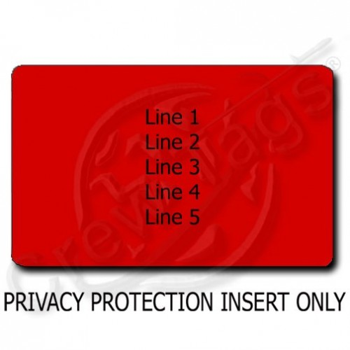 PRIVACY PROTECTION PERSONALIZED LUGGAGE TAG - RED INSERT ONLY